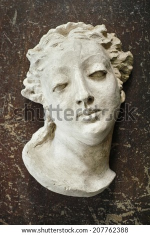 Ancient Bust on Grunge Background - stock photo