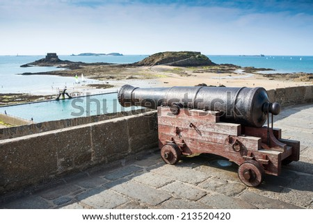 Ancient cannon on the walls of Saint Malo, Brittany, France - stock photo