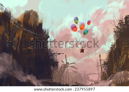 ancient car in a sky with balloons over a destroyed city,digital painting