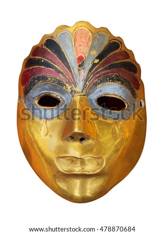 Ancient carnival mask isolated on white. Clipping path included.