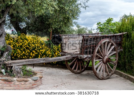 ancient carriage for the cereal transport in Caceres, Spain