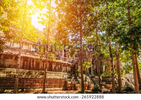 Ancient castle, Angkor Thom, Cambodia. Vintage filter. - stock photo