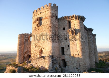 Ancient castle in ruins located in the north of C���¡ceres. In Spain - stock photo