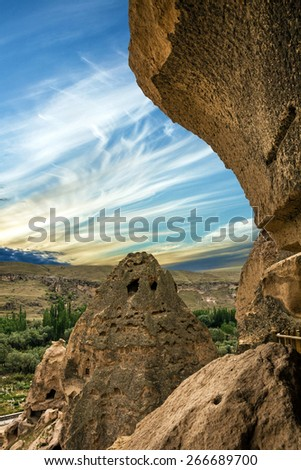 Ancient cave monastery Cavusin, Cappadocia, Turkey - stock photo