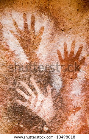 Ancient cave painting in Patagonia, Argentina - stock photo