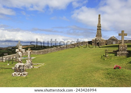 Ancient cemetery in the Rock of Cashel. County Tipperary in Ireland. - stock photo