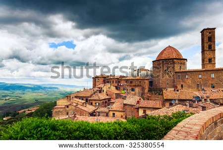Ancient center of village Volterra, Tuscany, Italy - stock photo