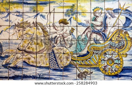 Ancient ceramic tile, museum Azulejo, Lisbon, Portugal.
