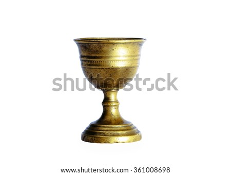 Ancient chalice of copper on white bottom - stock photo