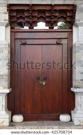 Ancient chinese door - stock photo