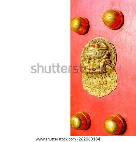 Ancient Chinese door knocker on White Background. - stock photo