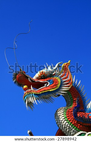 ancient chinese dragon against blue sky