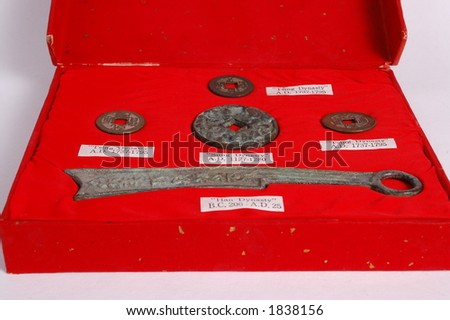 Ancient Chinese money and coins. - stock photo