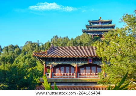 Ancient Chinese traditional buildings in the Jingshan Park. Located in Beijing, China. - stock photo