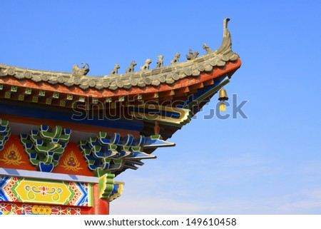 ancient Chinese traditional style of eaves of Landscape Architecture in a temple