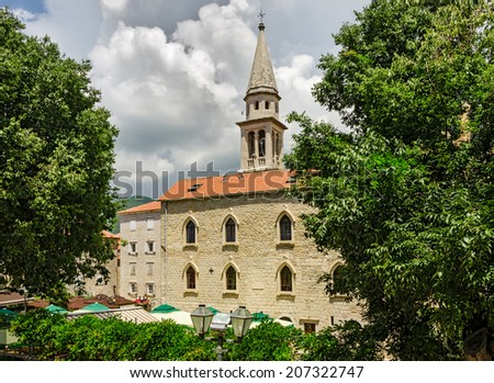Ancient church in old town of Budva. Saint John Church, Budva, Montenegro, Europe.