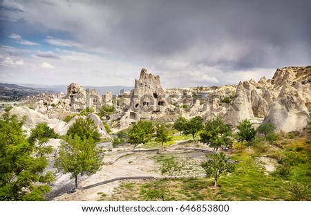 Ancient Church in the rock in Goreme open air Museum in Cappadocia, Turkey