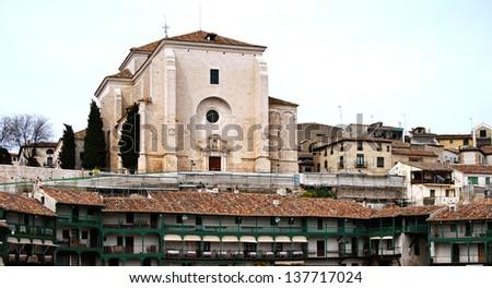"""Ancient church """"Nuestra Se���±ora de la Asuncion"""" XVI century in Chinchon, Madrid, Spain - stock photo"""