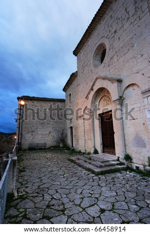 "Ancient Church of ""San Bartolomeo"" at dusk in Campobasso (center Italy)"