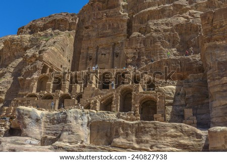 Ancient city, capital of the Nabataean kingdom - city of Petra in Jordan - stock photo