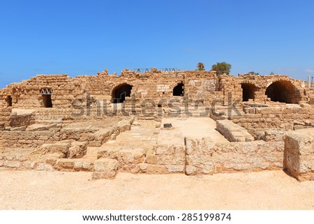 Ancient city of Caesarea, Mediterranean. Caesarea. Israel - stock photo