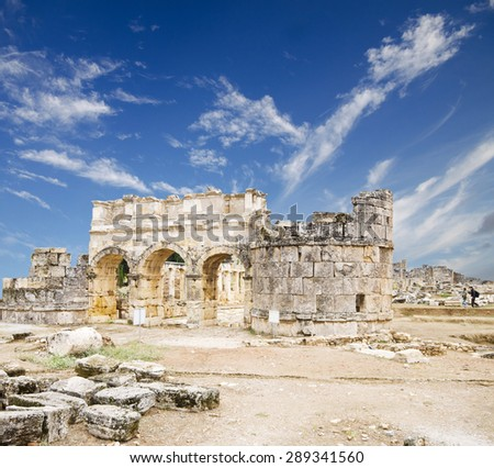 Ancient city of Hierapolis, Pamukkale, Turkey  - stock photo