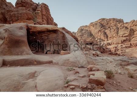 Ancient city of Petra. Jordna - stock photo
