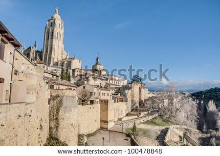 Ancient city walls of Segovia at Castile and Leon, Spain - stock photo