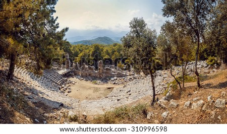 Ancient civilization temple. Amphitheater. Panoramic background - stock photo