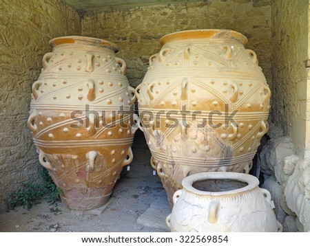 Ancient clay Minoan amphora in Malia, Crete, Greece - stock photo