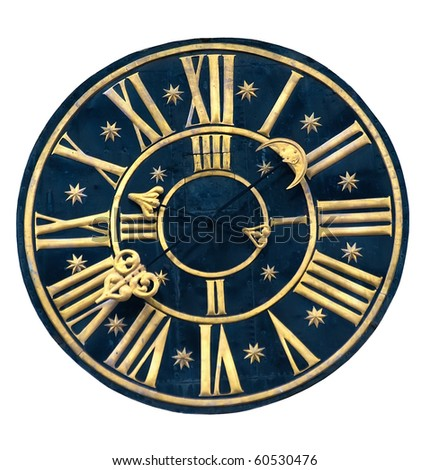 ancient clock isolated on white background - stock photo