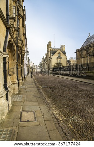 Ancient cobbled street in the city of Oxford, England - stock photo