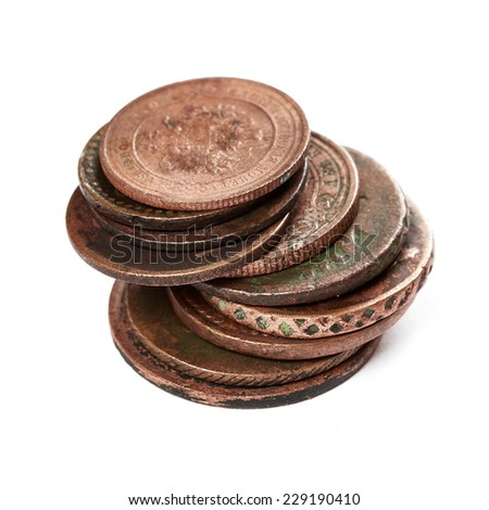 Ancient coins isolated on white background - stock photo