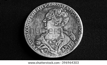 Ancient coins of Russia, 17 century 1725, on black background