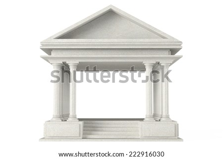 Ancient Colonnade Building on a white background