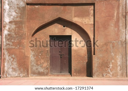 Ancient, colorful doors in Agra Fort complex, Agra, India