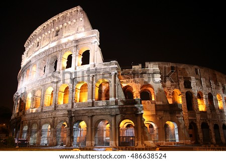 Ancient Colosseum at night, Rome, Italy