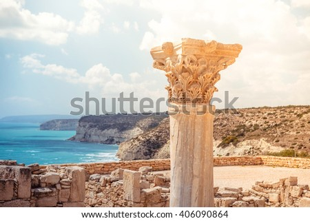 Ancient column at Kourion Archaeological Area. Limassol District, Cyprus. - stock photo