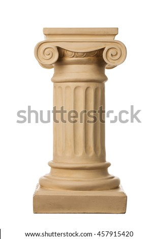 Ancient column isolated on white background - stock photo