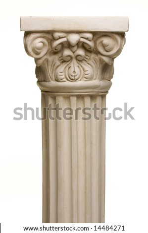 Ancient Column Pillar Replica on a White Gradation Background.