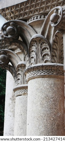 Ancient columns in Corinthian style (details) - stock photo