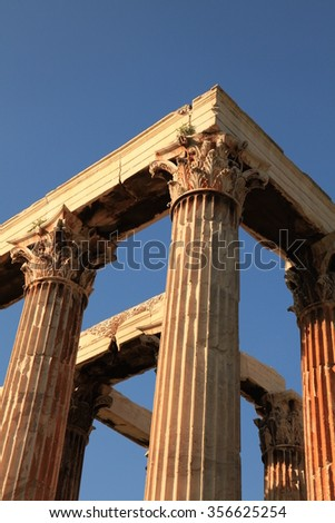 Ancient columns in the sunset