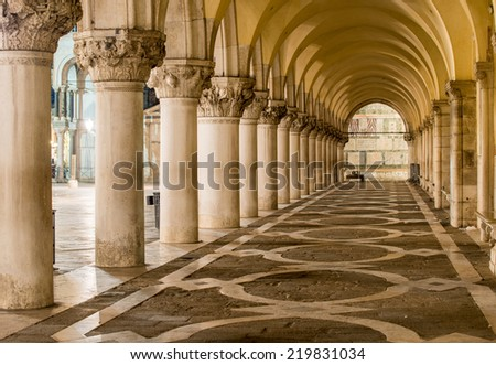 Ancient Columns in Venice. Arches in Piazza San Marco, Venezia. - stock photo
