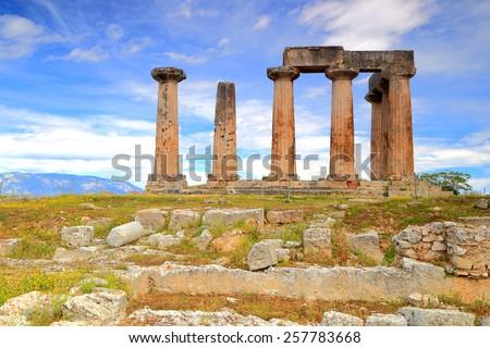 Ancient columns of the Apollo's temple in Corinth, Greece - stock photo