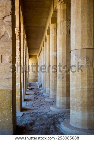 Ancient Columns of the perspective lines - interior of historical landmark. Columns of the Hatshepsut's temple near Luxor - Egypt. - stock photo