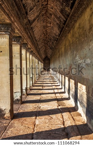 Ancient corridor at Angkor Wat  in Siem Reap, Cambodia.