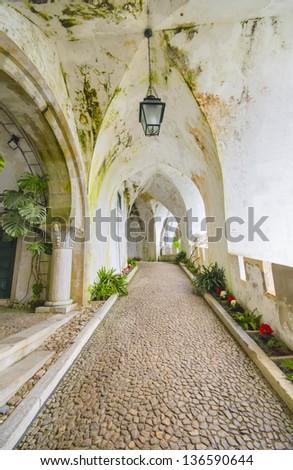 Ancient Corridor at Castle da Pena in Sintra, Portugal - stock photo