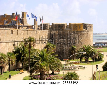Ancient defensive walls of the city of St. Malo, France - stock photo