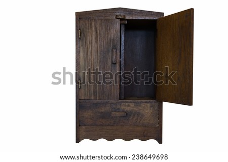 ancient design wood cupboard isolated on white background, right door opened - stock photo