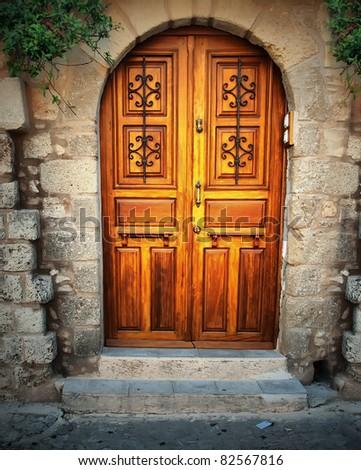 Ancient door in Rhodes island, Greece - stock photo